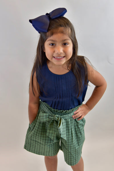 Pleated Indigo Top With Checks Paper Bag Shorts 2 pc. Set Dress Yo Baby Wholesale