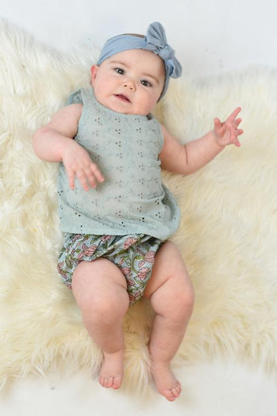 Powder Blue Embroidered Top & Printed Diaper Cover Set Dress Yo Baby Wholesale