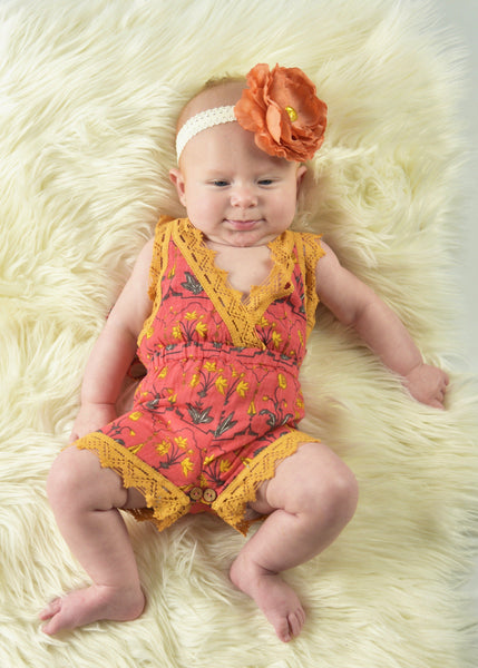 Printed Coral Playsuit with Lace Detail Dress Yo Baby Wholesale
