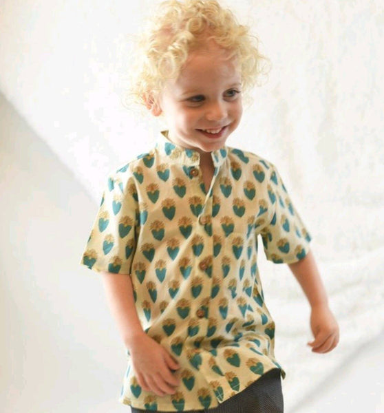Printed Pale Yellow Shirt boys Yo Baby Wholesale
