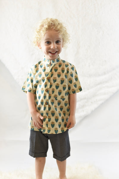 Printed Pale Yellow Shirt & Charcoal Shorts Two Piece Set boys Yo Baby Wholesale