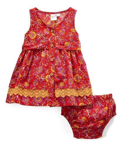 Red and Yellow Floral Print Infant Dress Dress Yo Baby Wholesale