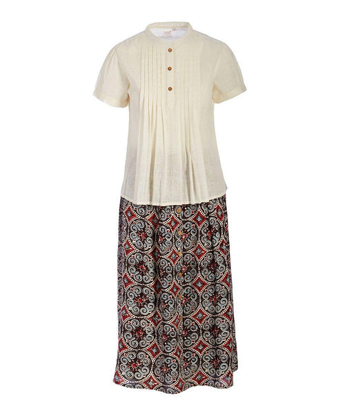 Roman Inspired Printed Skirt & Pleated Top Set Shirt-Dress Yo Baby Wholesale