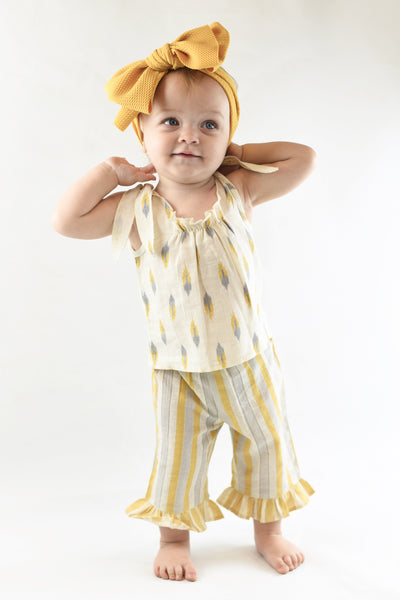 Ruffle Striped Pants & Tie-Top 2 Pc Set Sun Dress Yo Baby Wholesale