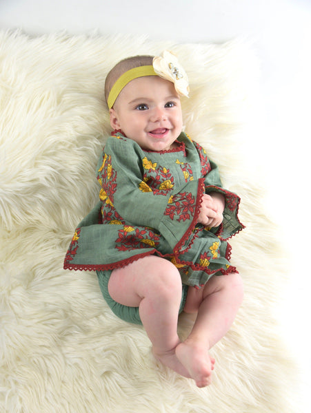 Sage Green Dress With Red Lace Detail & Matching Bloomers Dress Yo Baby Wholesale