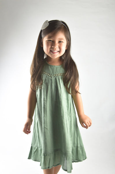 Sage Lace Detail Dress Dress Yo Baby Wholesale