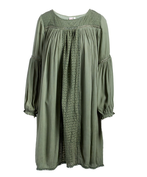 Sage Net Detail Dress Shirt-Dress Yo Baby Wholesale