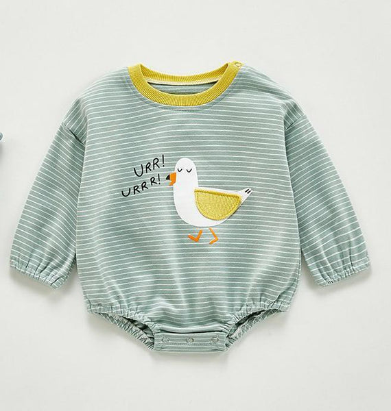Seagull-Print Full-Sleeves Infant Romper - Unisex Dress Yo Baby Wholesale