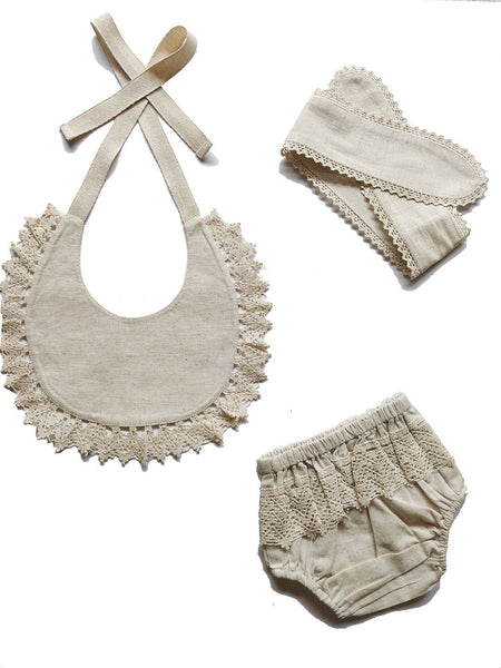 Set of 3 - Crochet Diaper Cover with Matching Bib & Headband in Ivory diaper covers Yo Baby Wholesale