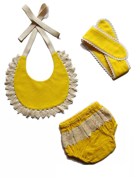 Set of 3 - Crochet Diaper Cover with Matching Bib & Headband in Yellow diaper covers Yo Baby Wholesale
