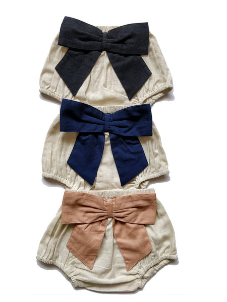 Set of 3 - Ivory Diaper Covers with Contrast Bows in Blush, Navy & Black. diaper covers Yo Baby Wholesale