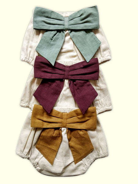 Set of 3 - Ivory Diaper Covers with Contrast Bows in Sage, Ochre & Burgundy. diaper covers Yo Baby Wholesale