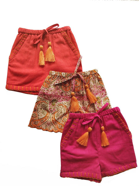 Set of 3 - Paisley Print Scalloped Orange Tassel Detail and hand Embroidered Short Style Diaper Cover/Bloomers diaper covers Yo Baby Wholesale