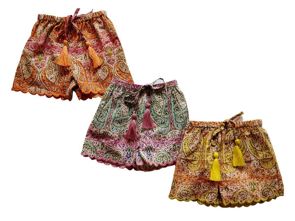 Set of 3 - Paisley Print Scalloped Tassel Detail Short Style Diaper Cover/Bloomers diaper covers Yo Baby Wholesale