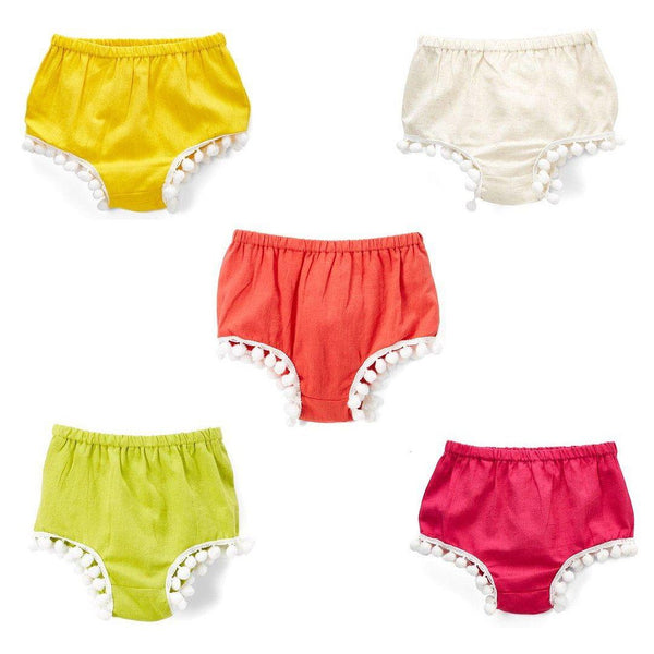 Set of 5 - Diaper Covers with Pom-Pom Lace Detail diaper covers Yo Baby Wholesale