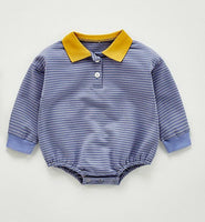 Striped & Contrast-Collar Full-Sleeves Infant Romper - Boys Dress Yo Baby Wholesale