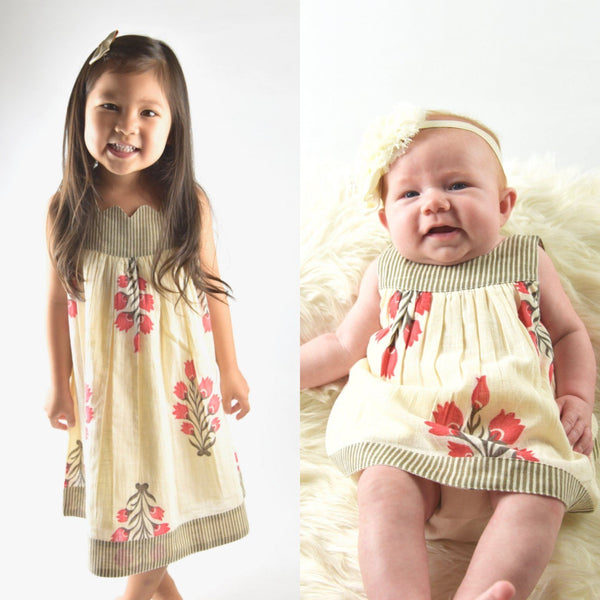Stripes Sweetheart Neck Floral Shift Dress & Diaper Cover Set Dress Yo Baby Wholesale