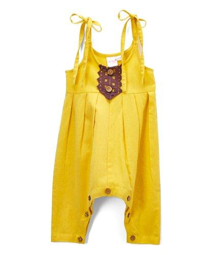 Sunshine Yellow Infant Jumpsuit with Burgandy Lace Detail Dress Yo Baby Wholesale