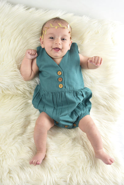 Teal Sleeveless Infant Romper Dress Yo Baby Wholesale