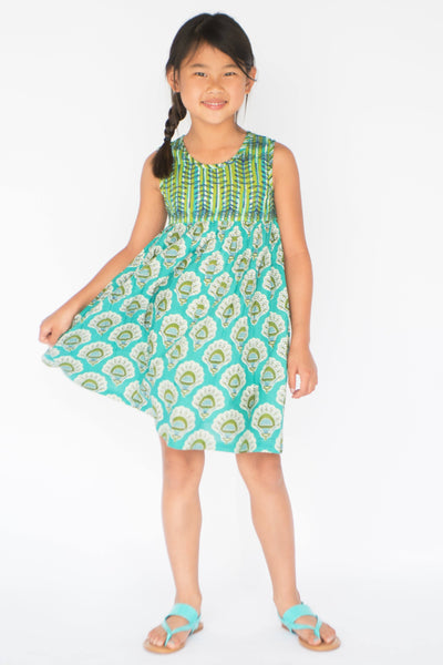 Turquoise Yoke Dress With Belt Tie Dress Yo Baby Wholesale