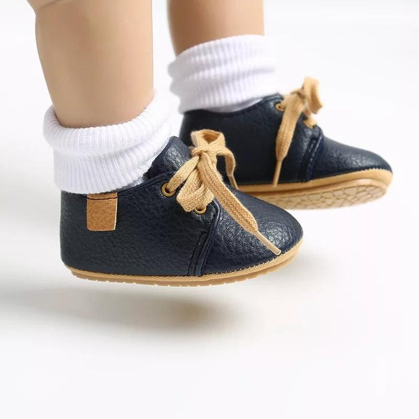 Unisex mock Leather moccasins - midnight blue Yo Baby Wholesale