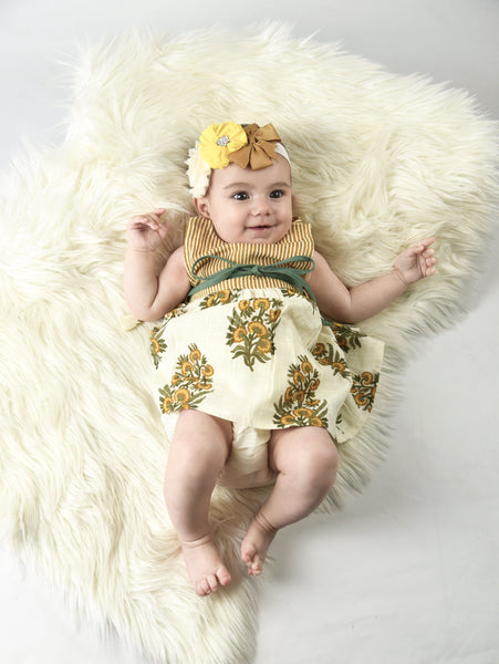 Yellow Floral and Pinstripe Infant Dress With Matching Bloomer Dress Yo Baby Wholesale