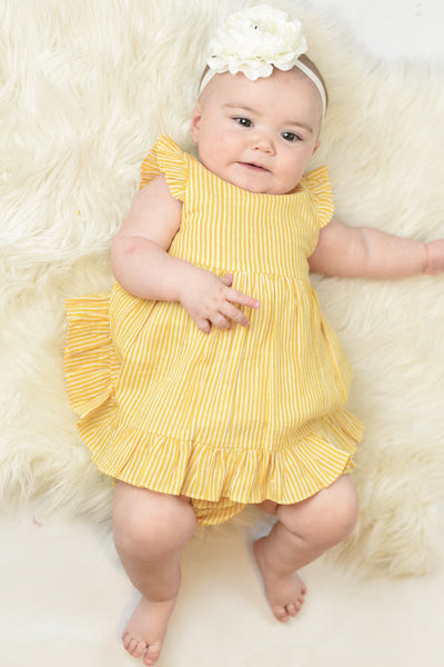 Yellow Pin-Stripe Flutter-Sleeve Dress With Belt-Tie & Diaper Cover Set Sun Dress Yo Baby Wholesale