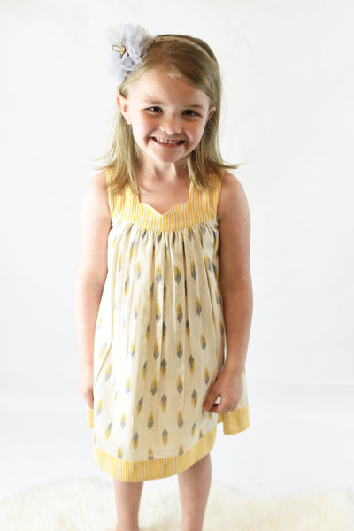 Yellow Pin-Stripe Sweet-Heart Dress Dress Yo Baby Wholesale