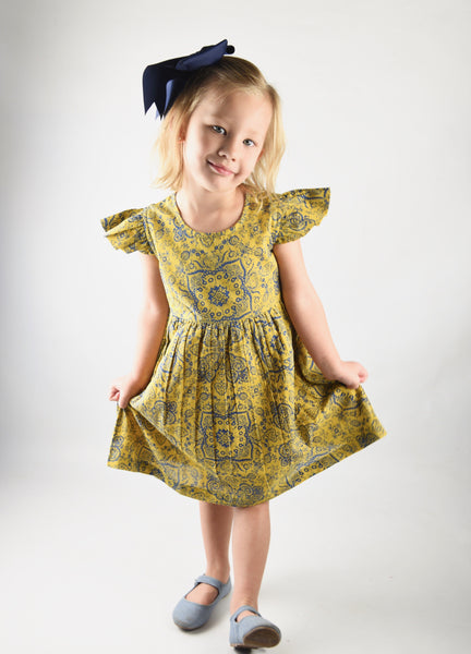 Yellow Printed Flutter Sleeves Infant Dress Dress Yo Baby Wholesale