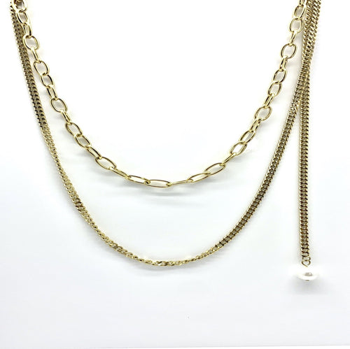 stainless steel dual length chain with pending perle (Gold Tone )