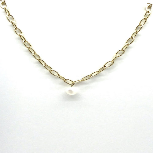 link necklace with shell pearl