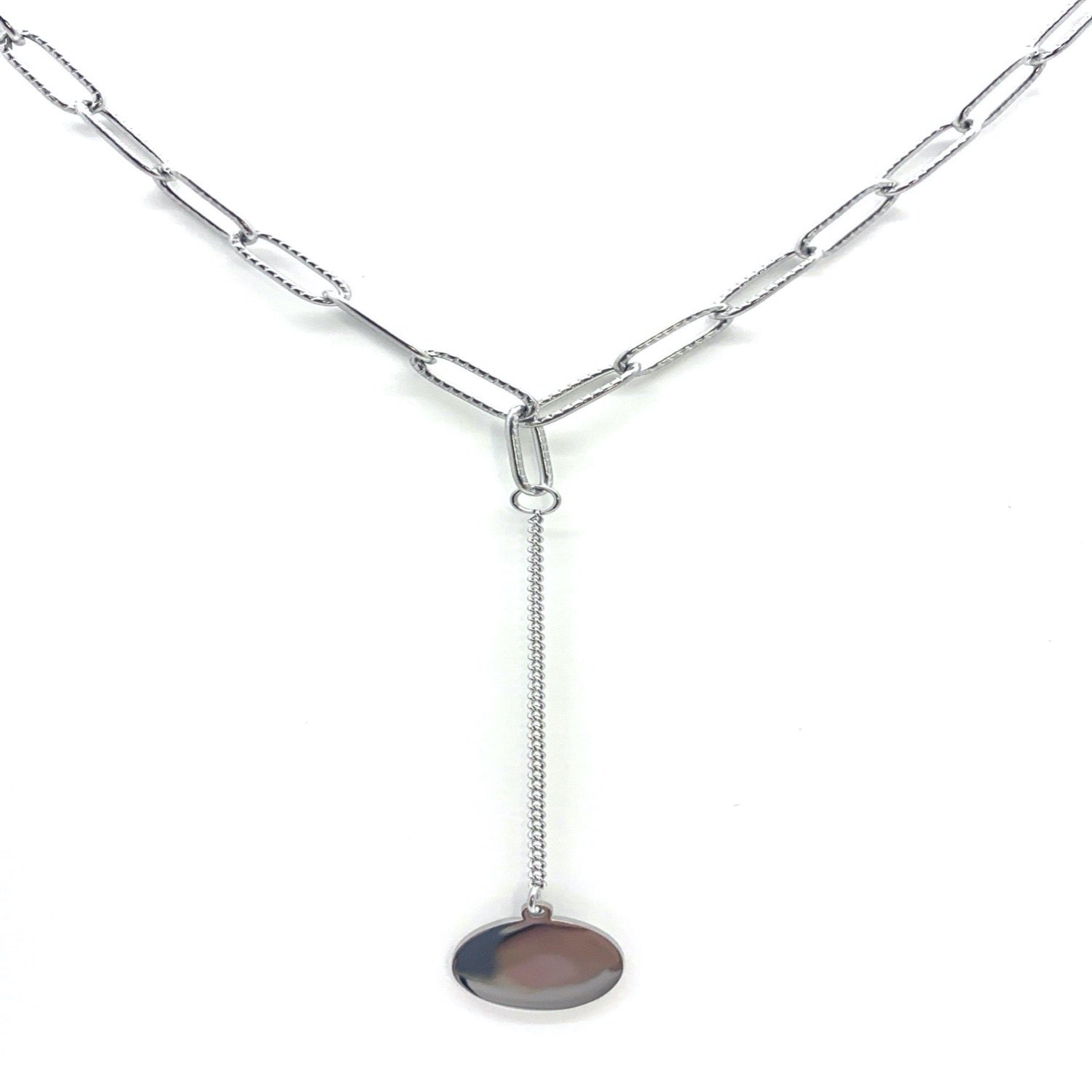 stainless steel link chain with pending solid coin necklace