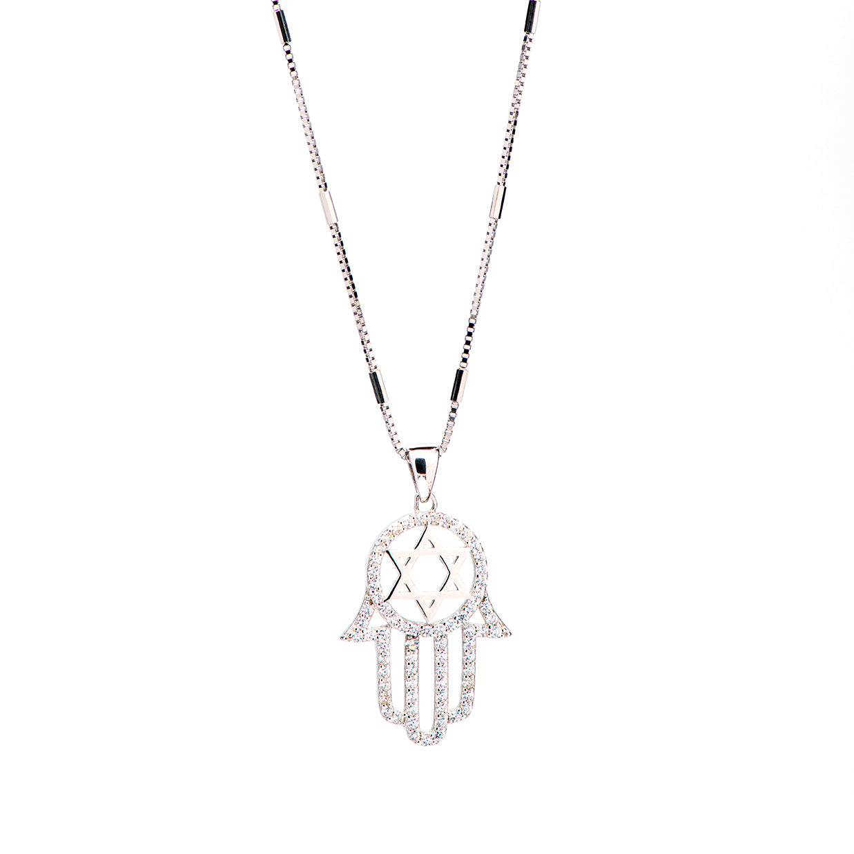 ANAT- hamsa with Star of David Necklace