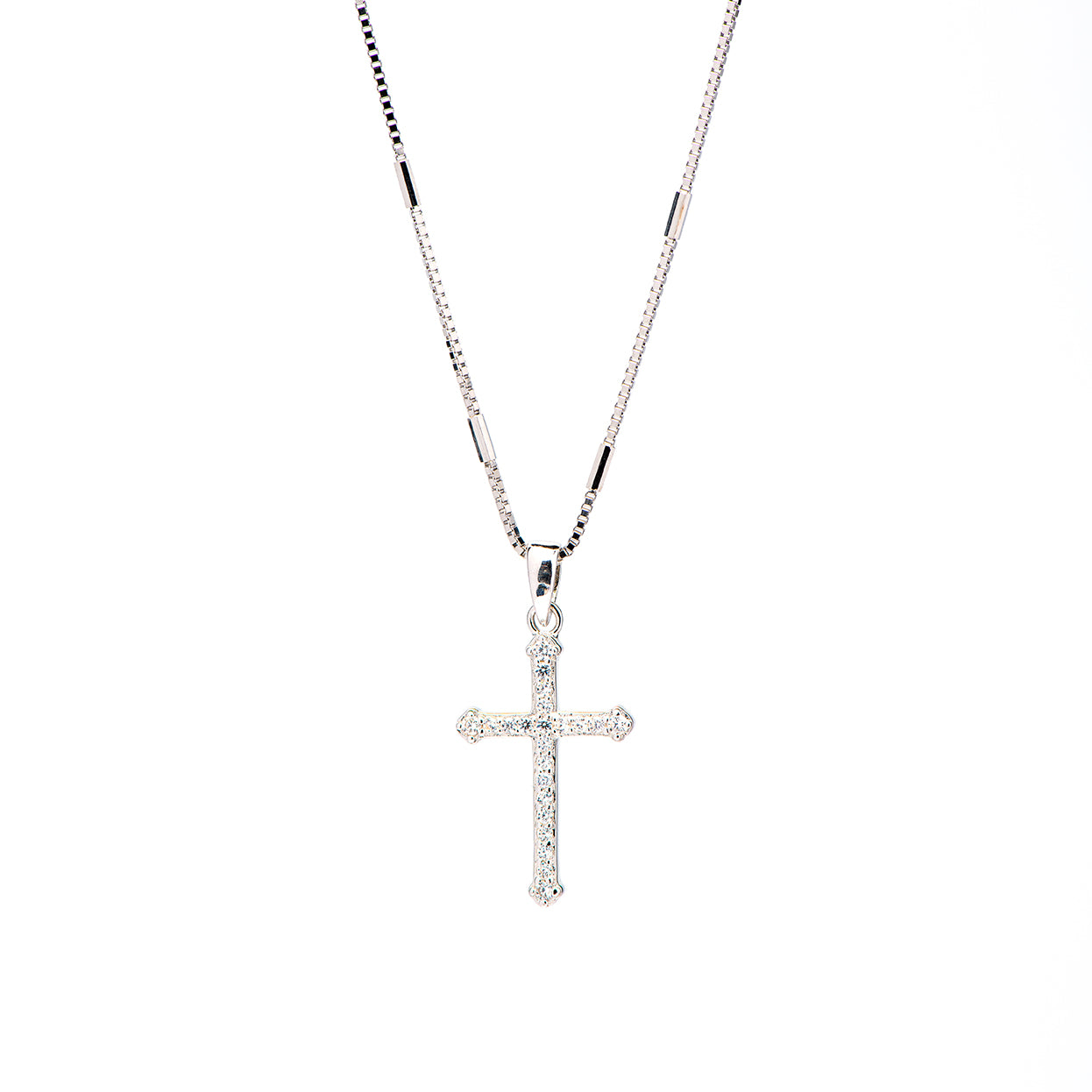Mariette - Micropave cross necklace