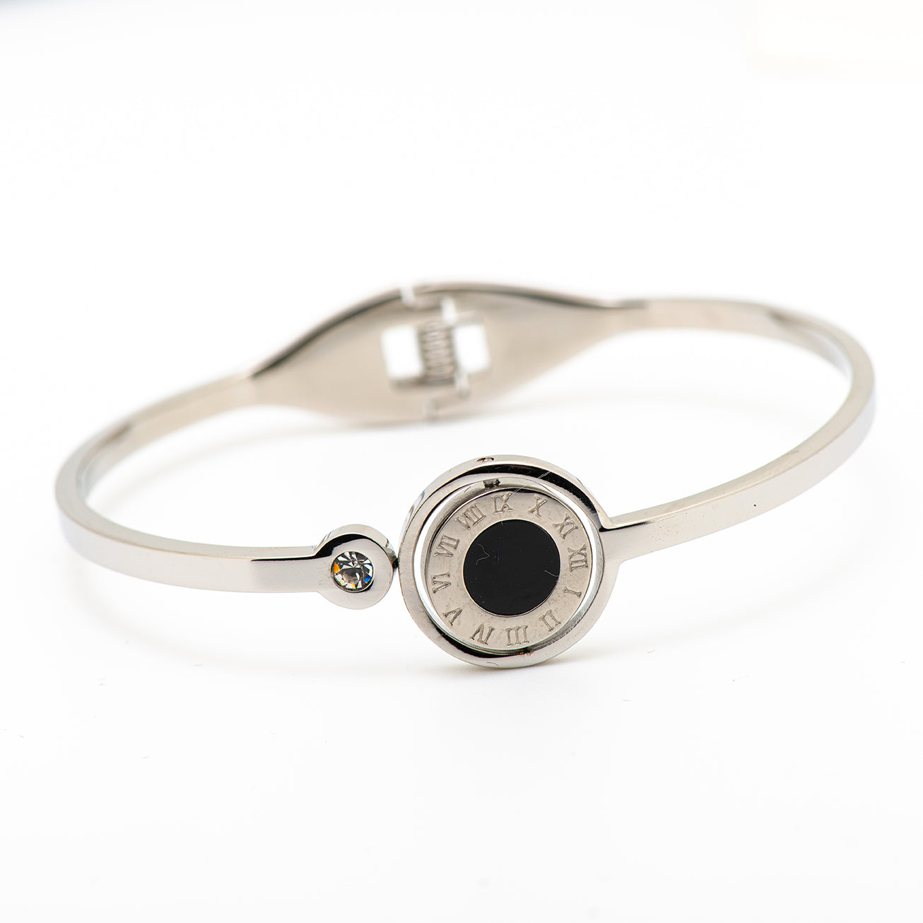 stainless steel bangle with double side, black and white mother of pearl