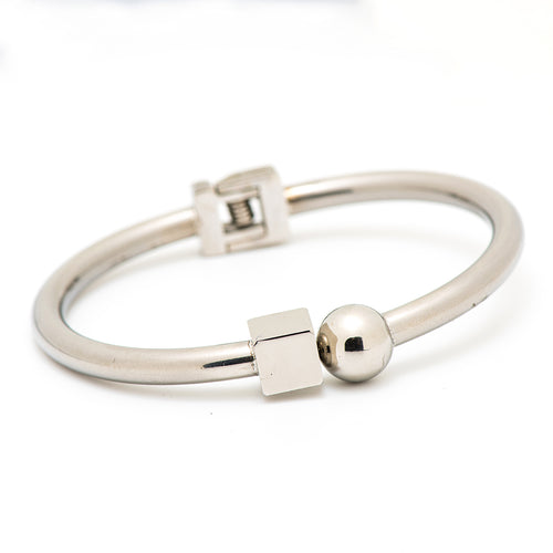stainless steel bangle with a square and circle shapes