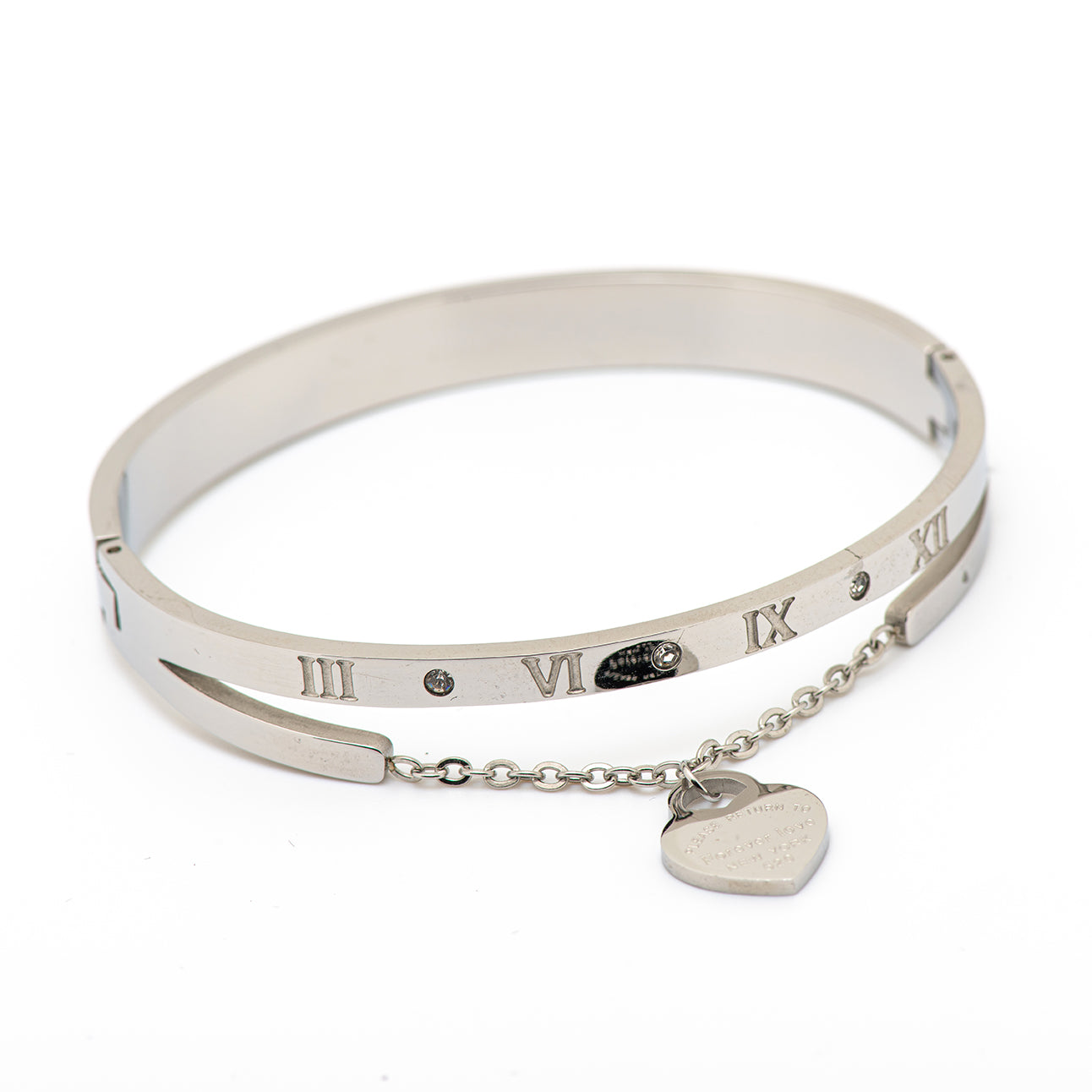 stainless steel bangle with chain and pending heart