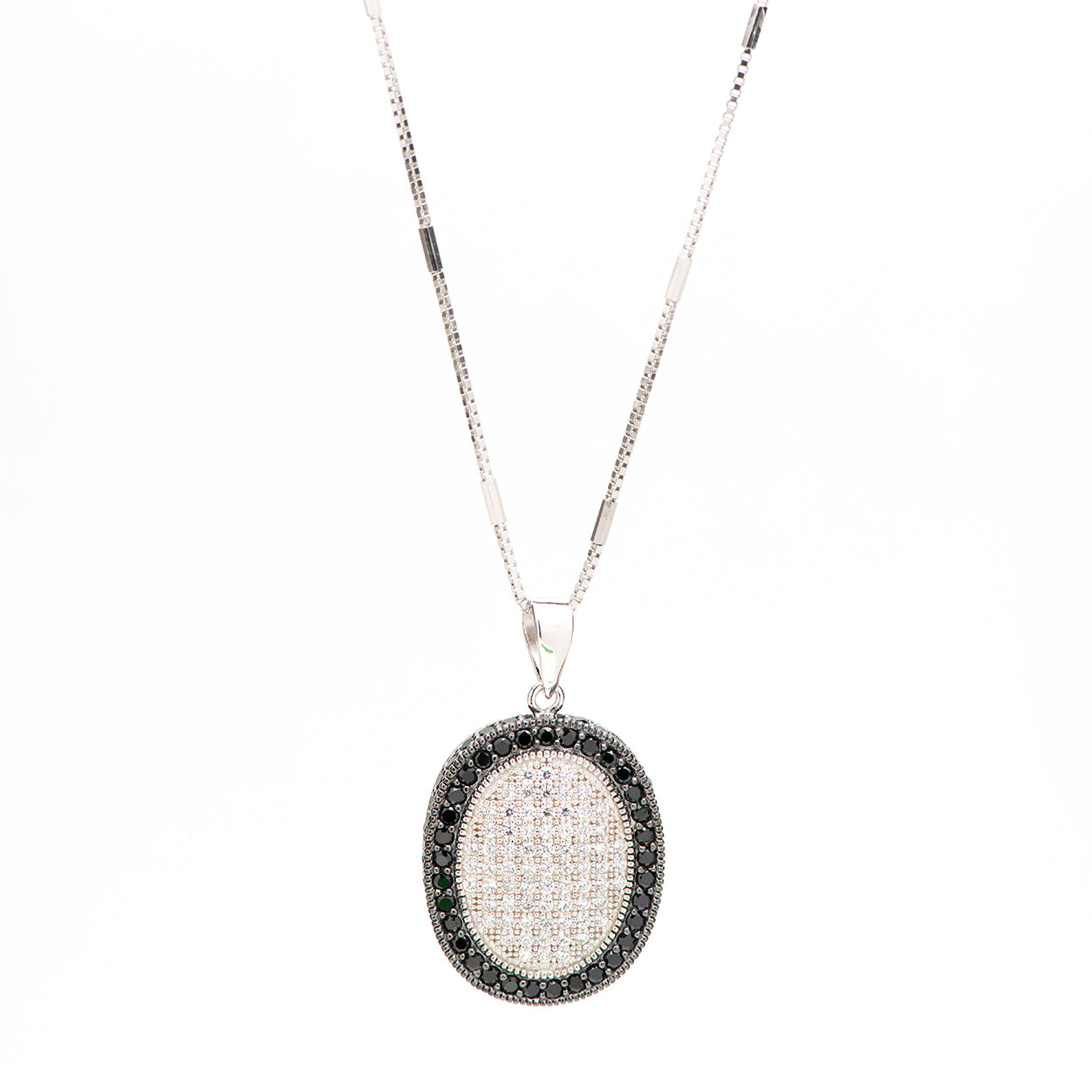 ARABELLA - sterling silver necklace with oval micropave CZ