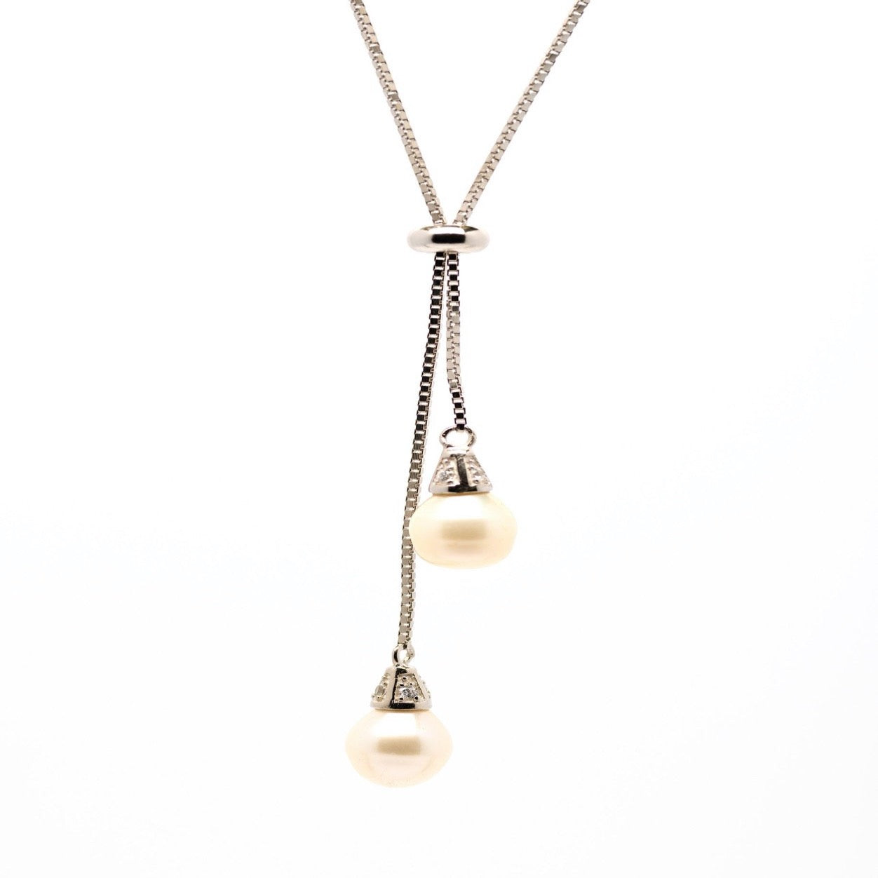 Silver Adjustable 2 Fresh Water Pearl Necklace