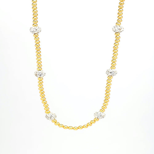 Silver 14k Gold Platted Bead necklace