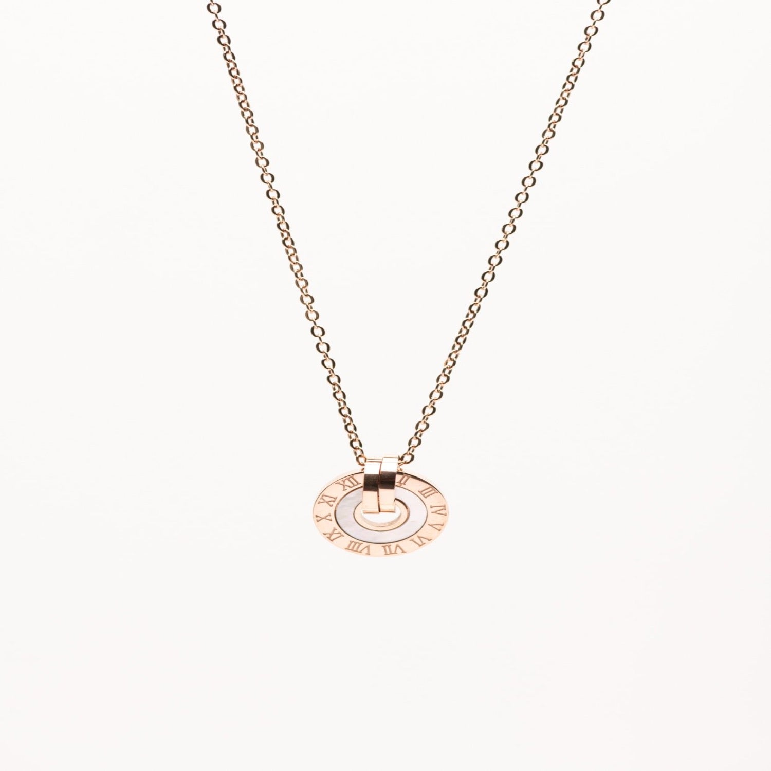 Stainless Steel Rose Gold round pendant with mother of perle necklace