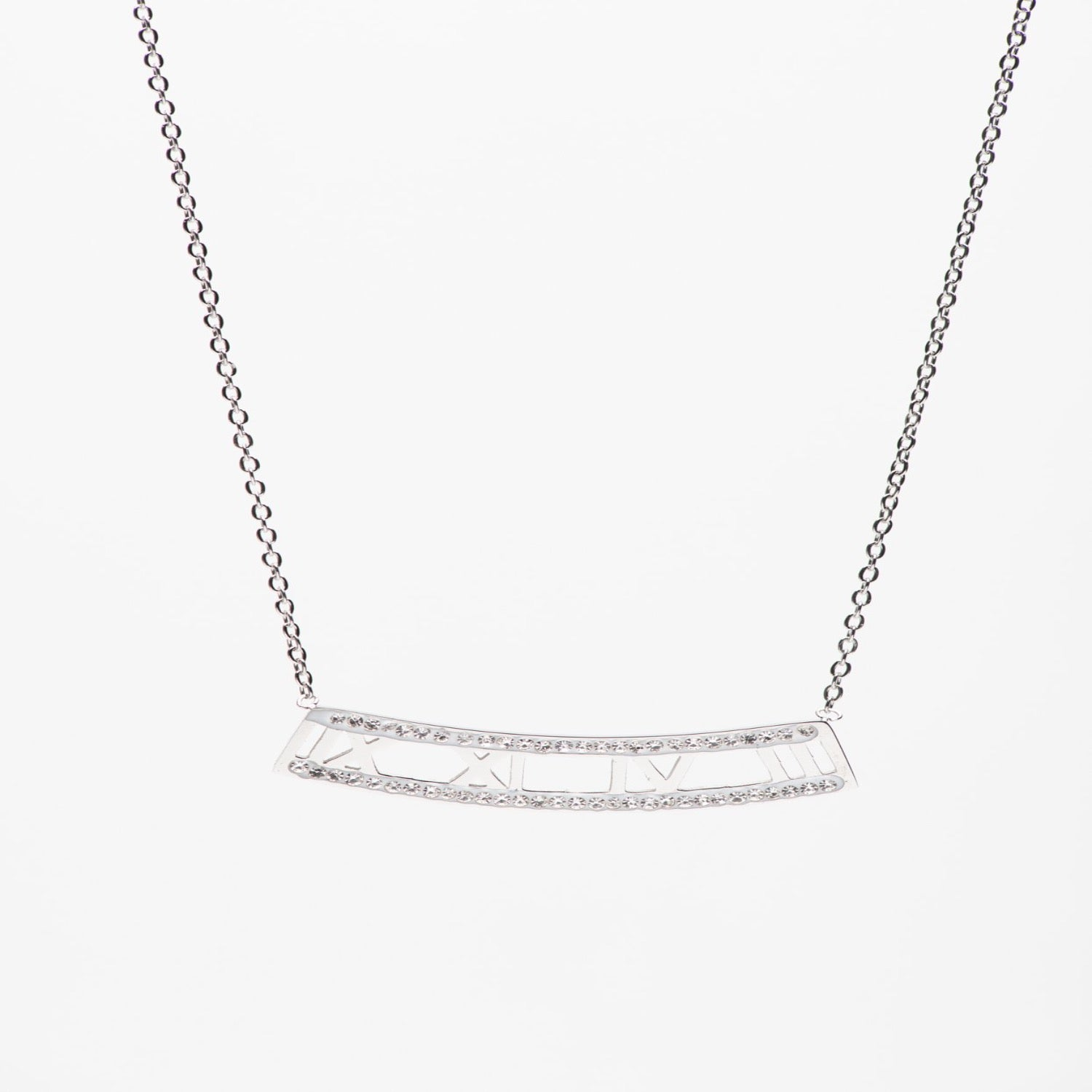 Stainless Steel roman numeral bar necklace