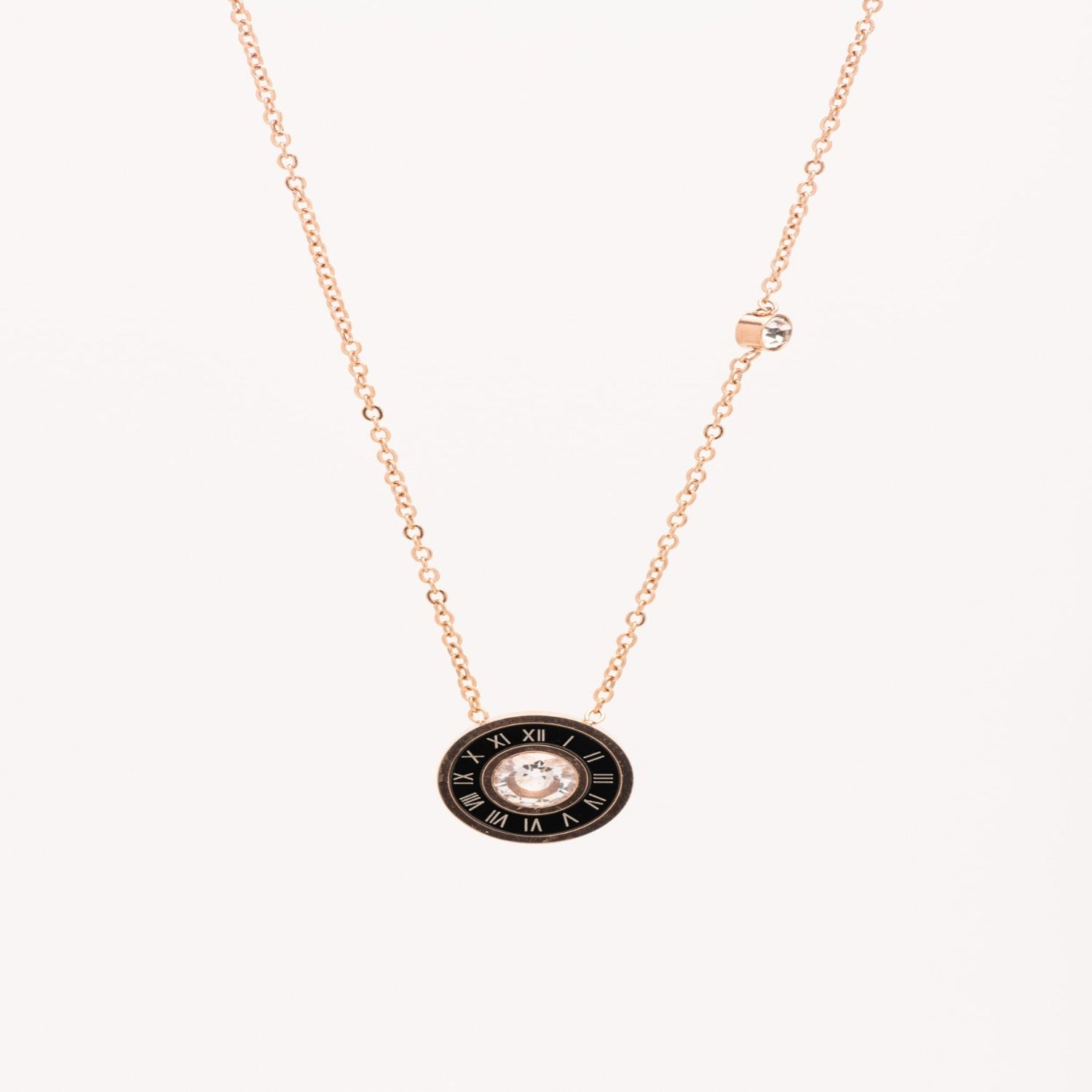Roman numerals and Cubic Zirconia necklace in Rose gold.