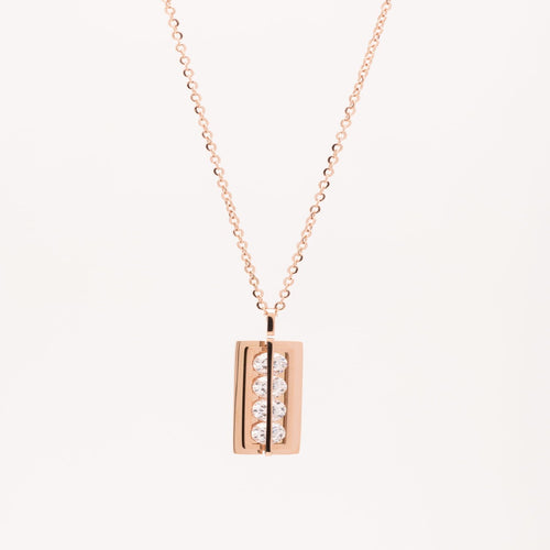 Stainless Steel Rose Gold bar necklace with 4 crystals