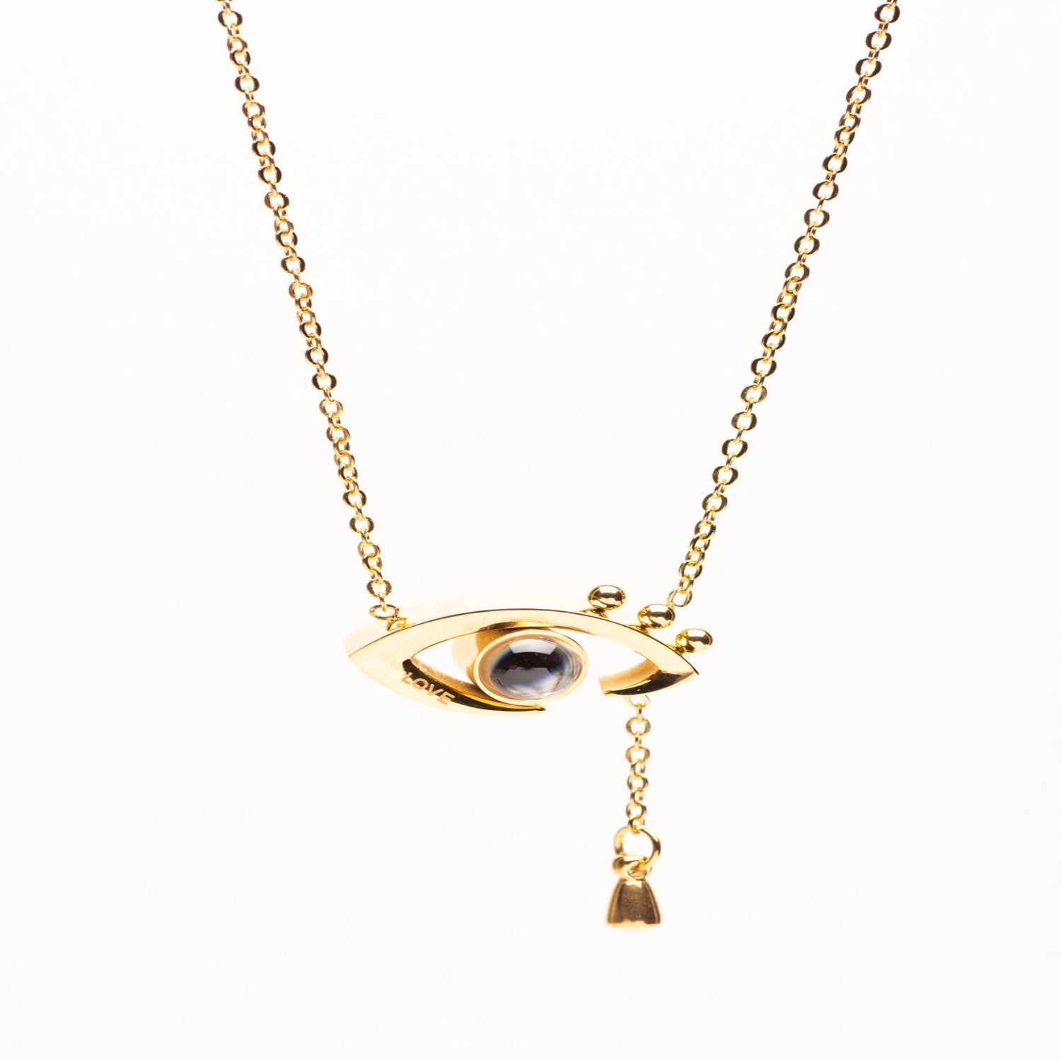Stainless Steel Gold tone evil eye necklace