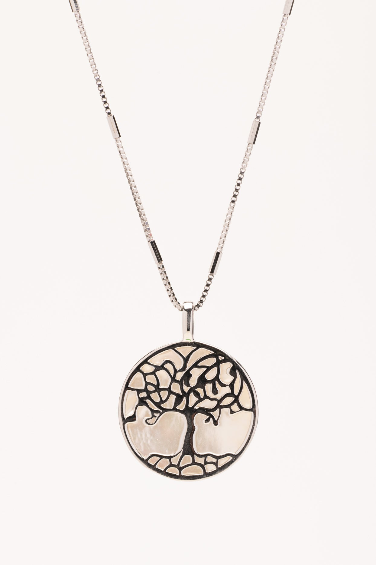 Sterling silver small tree of life with MOP