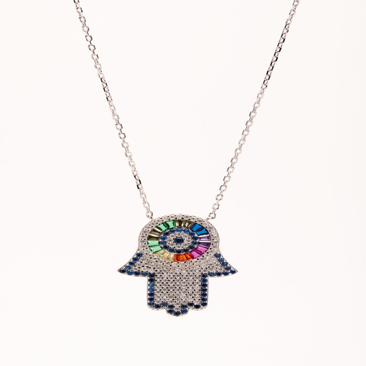Sterling silver hamsa with Star of David necklace