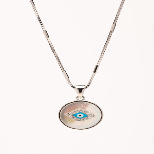 Sterling silver eye necklace with mother of pearl