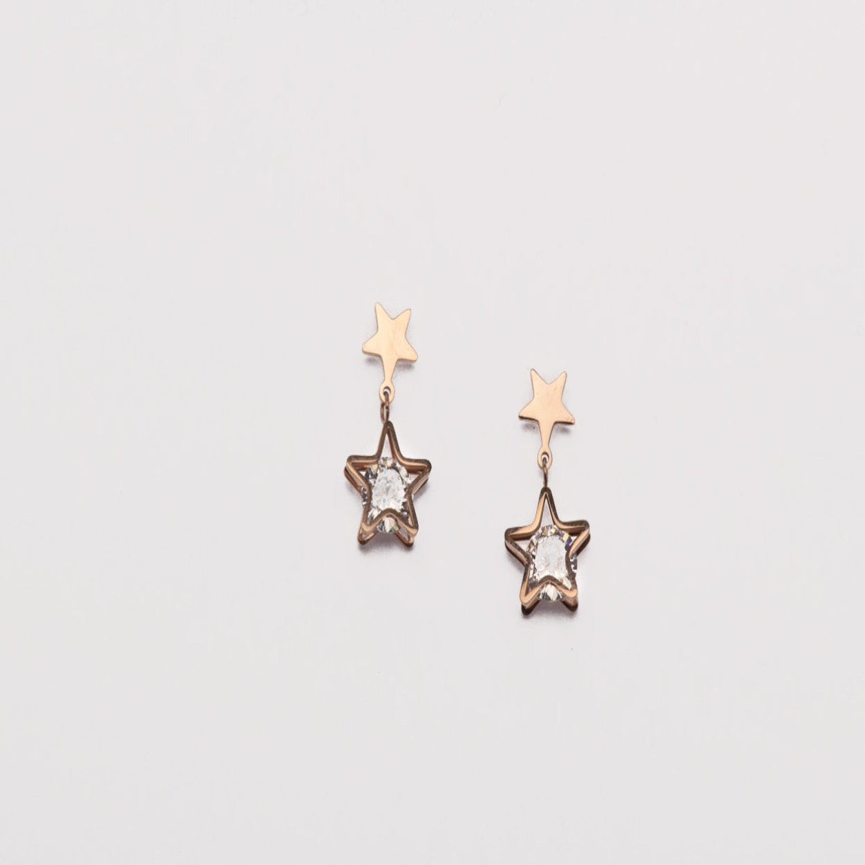 Stainless steel rose gold star studs