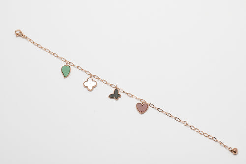 Stainless steel rose gold bracelet with 4 pending charms